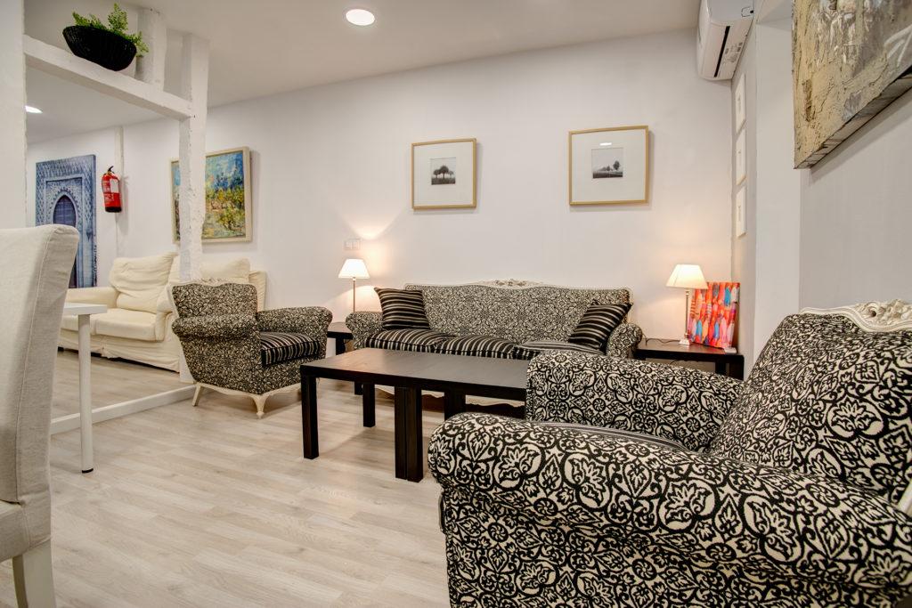 Apartamento turístico en Valladolid Conde Ansúrez Salón sofás